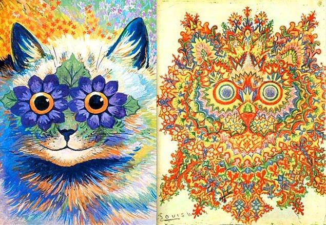 Ünlü ressam Louis Wain, şizofreni tehişsi öncesi resimlerinde kedi resimlerini sevimli ve eğlenceli resmetmekteydi.