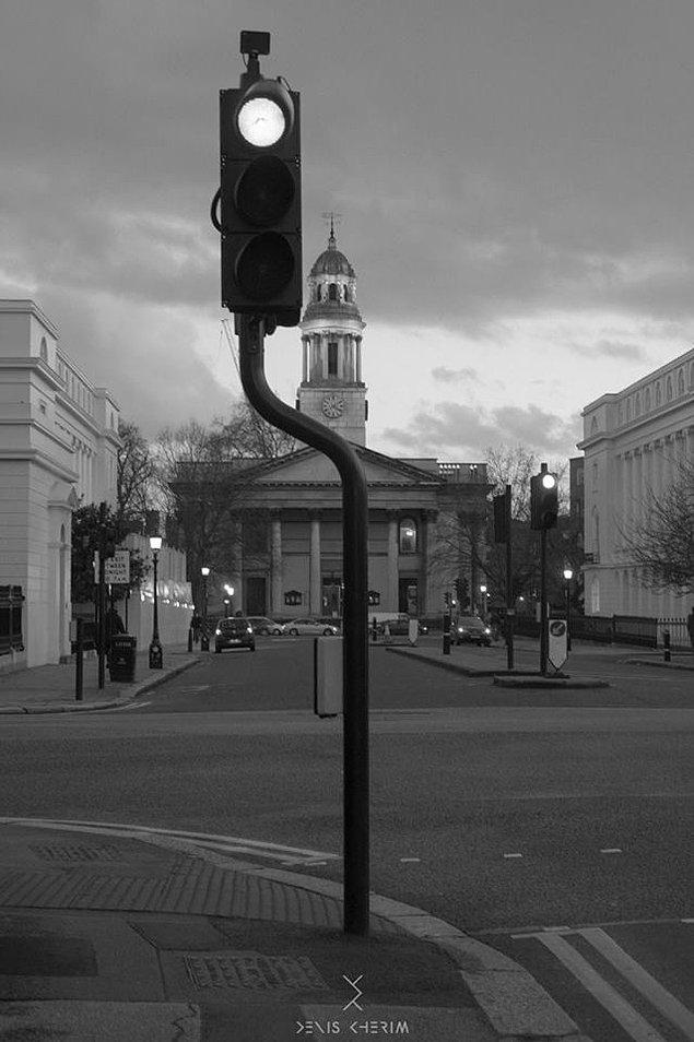 #11 Trafik lambası fotoğraf çekilebilsin diye yön değiştirmiş gibi