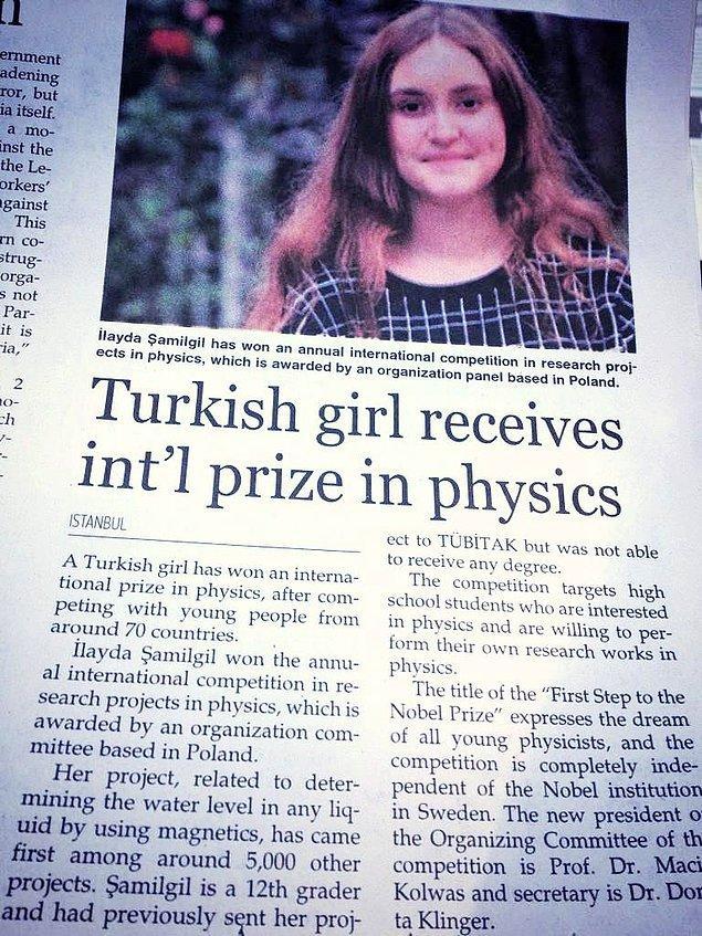 """Neyse ki İlayda bu yanıtın ardından yılmamış ve çok güvendiği projesini """"Nobel Fizik Ödülüne İlk Adım"""" yarışmasına yollamış ve 5.000 proje arasından 1. olmayı başarmıştı."""