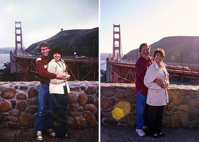 25. 1982'de çektirdikleri fotoğrafı 32 yıl sonra canlandıran romantik ikili.💑