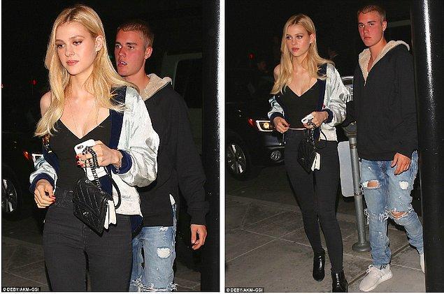 Bieber, güzel oyuncu Nicola ile romantik bir akşam yemeği için buluşmuştu.