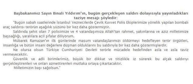 Başbakan Binali Yıldırım'ın yazılı açıklama: