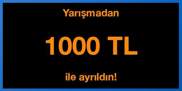 Yanlış cevap! Yarışmadan 1000 TL ile ayrıldın!