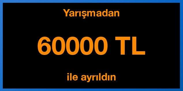 Tebrikler! Yarışmadan 60000 TL ile ayrıldın.