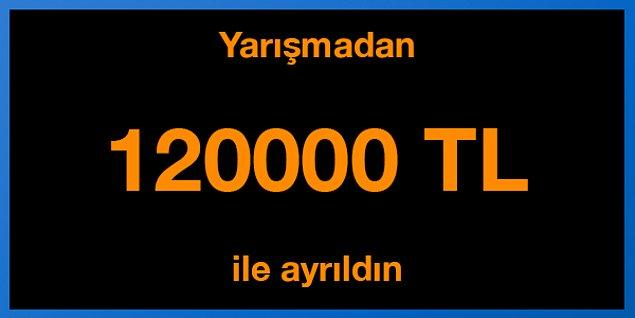 Tebrikler! Yarışmadan 125000 TL ile ayrıldın.
