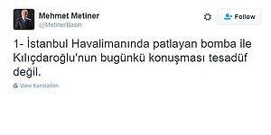 Mehmet Metiner Atatürk Havaalanı Saldırısını Kılıçdaroğlu'na Bağladı, Tepkiler Gecikmedi