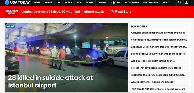 """A.B.D.'nin popüler haber sitesi USA Today terör saldırısını """"İstanbul Havalimanı'ndaki intihar saldırısında 28 kişi öldü."""" manşetiyle verdi."""