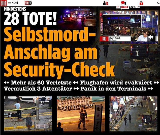 Alman medya kuruluşu The Bild manşetle birlikte internet sitesinin kenarında canlı yayın gerçekleştirdi.
