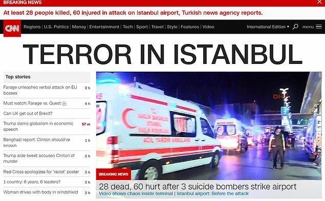 """CNN, haberi """"İstanbul'da terör"""" manşetiyle geçti."""