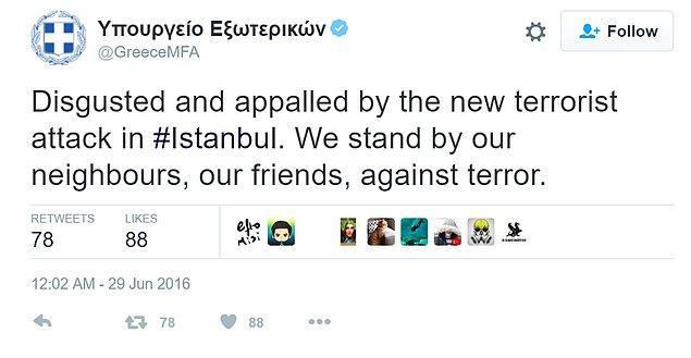Yunanistan Dışişleri terörü bu tweetle kınadı.