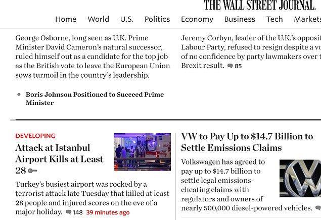 The Wall Street Journal diğer sitelerin aksine saldırıyı manşetten değil, son dakika haberlerinden verdi.