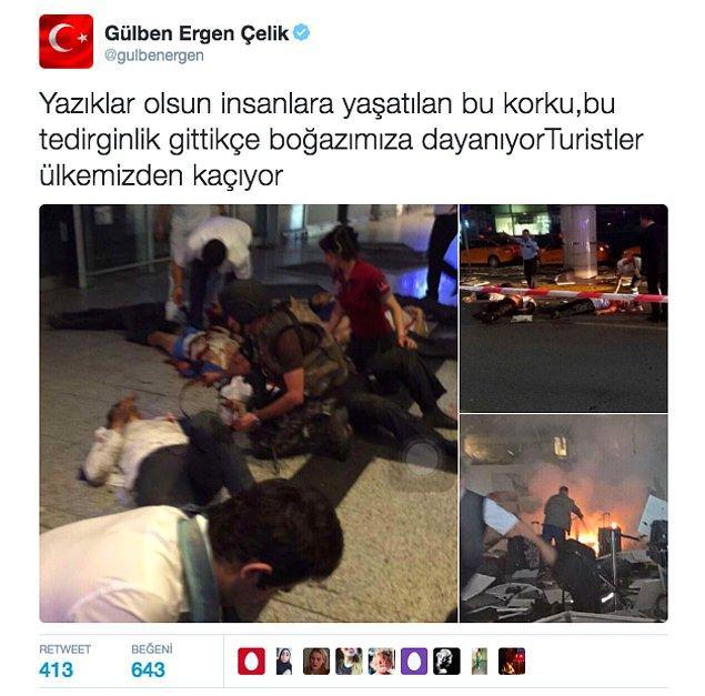 """Ergen, bu korkunç patlamanın ardından """"Turistler ülkemizden kaçıyor!"""" dedi."""