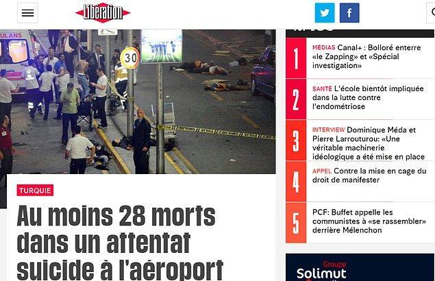 Son yıllarda terör saldırılarına maruz kalan Fransa'dan Liberation gazetesinin web sitesi de saldırıyı manşetine taşıdı.