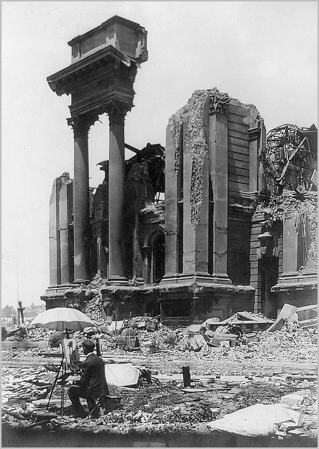 4. San Francisco depremi sonrası kalıntıların resmini çizen bir ressam, 1906.