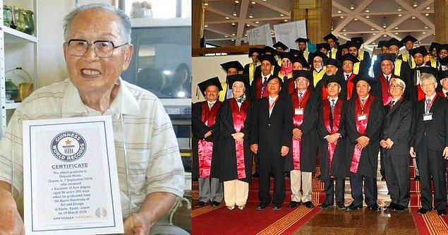 8. Üniversite eğitimini tamamlayarak Guinness Rekorlar Kitabı'na dünyanın en yaşlı üniversite mezunu olarak geçen 96 yaşındaki Japon Shigemi Hirata.