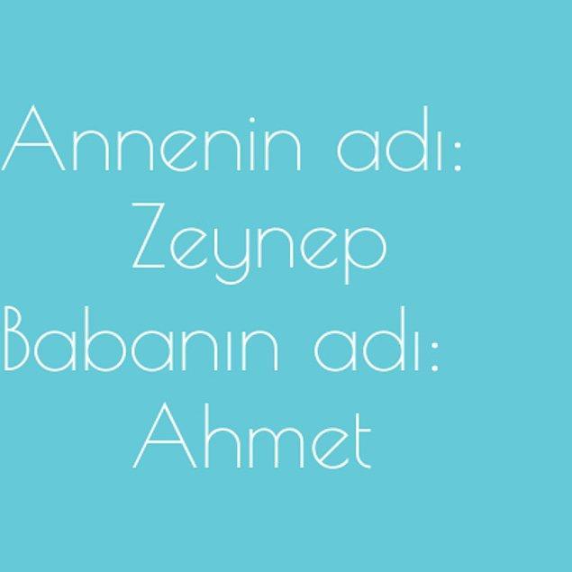 Zeynep ve Ahmet!