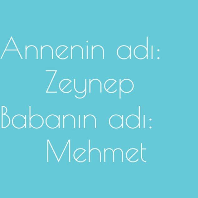 Zeynep ve Mehmet!