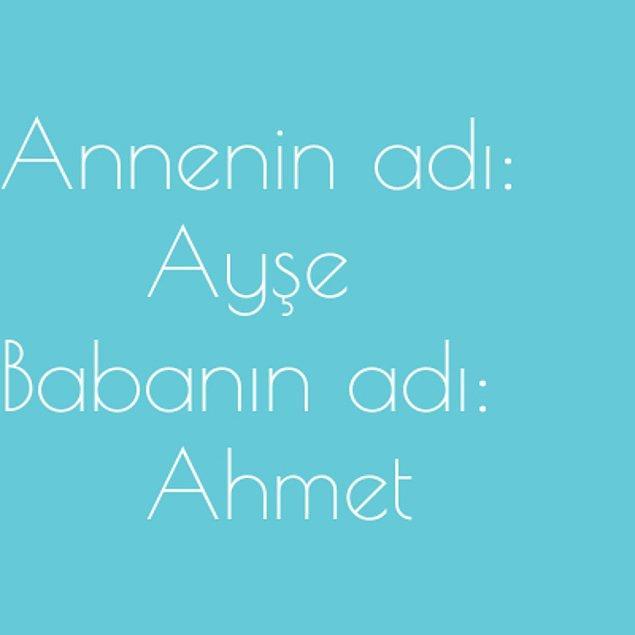 Ayşe ve Ahmet!