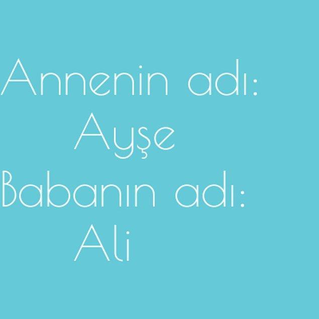Ayşe ve Ali!