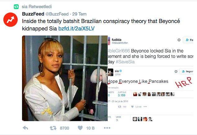 Yaptığı retweet'e bakılacak olursa Sia da bu durumdan haberdar.