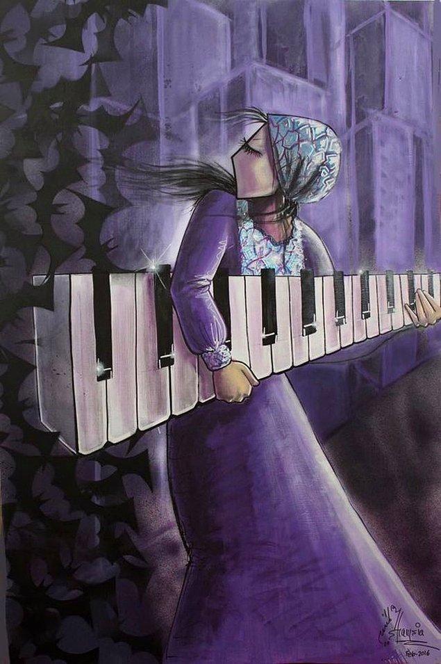 Yaptığı duvar resimlerinde ve grafitilerde sıklıkla burka giyen kadın figürleri yer alıyor. Bunun yanı sıra müzik aletleri ve balık simgesini de sıklıkla kullanıyor.