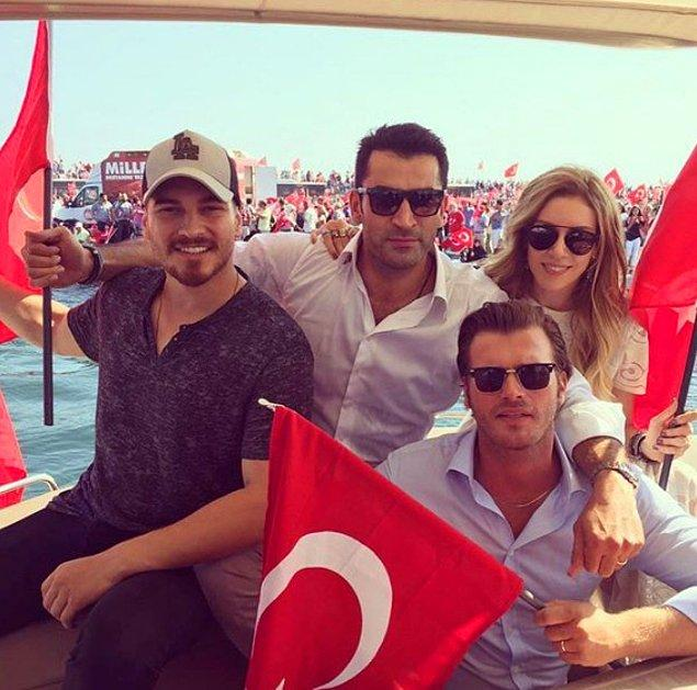 Çağatay Ulusoy, Kıvanç Tatlıtuğ, Kenan İmirzalıoğlu ve eşi Sinem Kobal