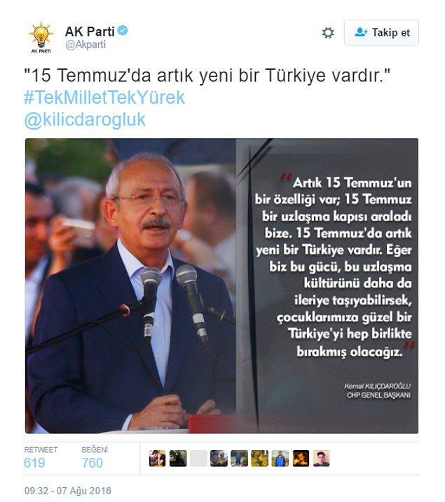 Ardından ise Kemal Kılıçdaroğlu paylaşımlarıyla devam edildi.