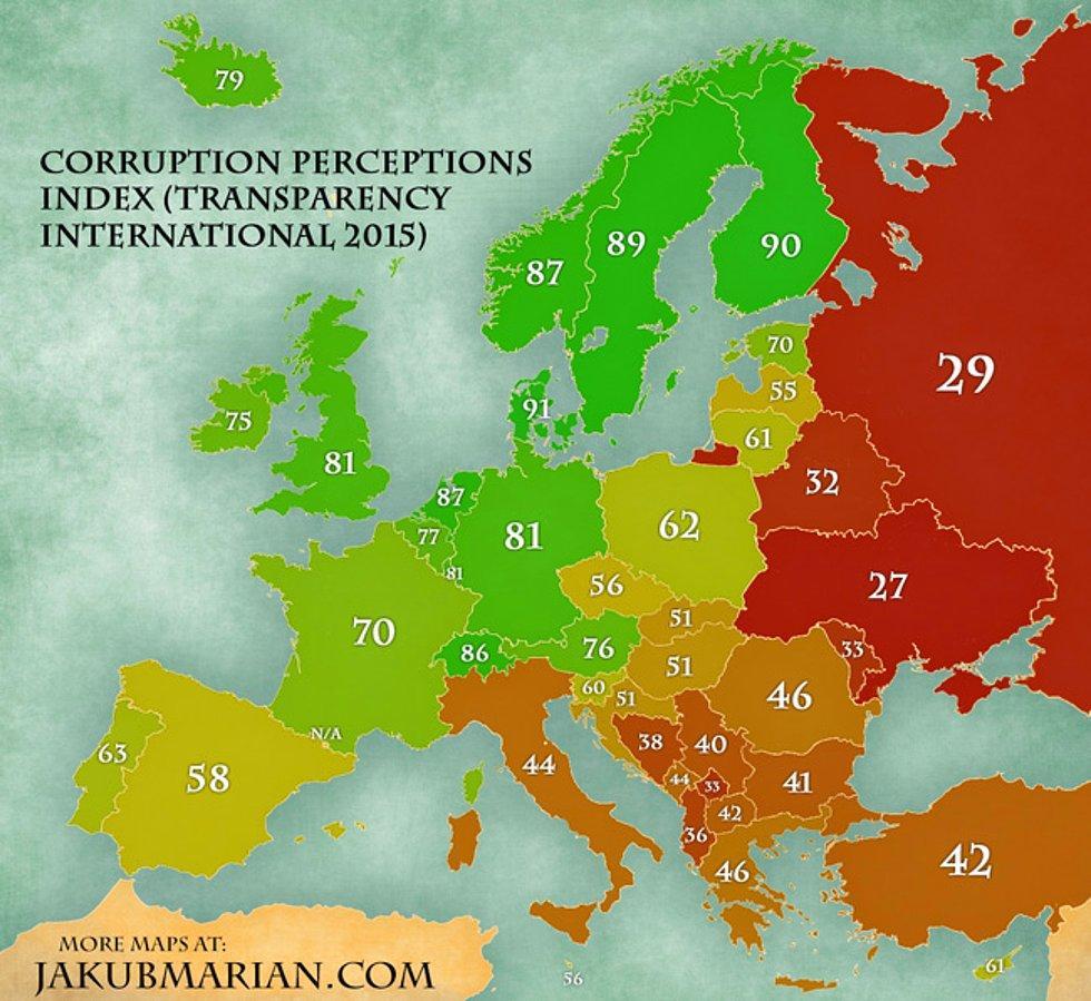 2015 Verilerine Göre Ülkelerin Yolsuzluk Algılama Endeksi