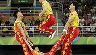 Çin Jimnastik Takımı Rio'da İp Atlama Gösterisi İçin İp Yerine İnsan Kullandı