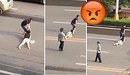 Kadını Saçlarından Sürükleyerek Caddeyi Geçen Adam