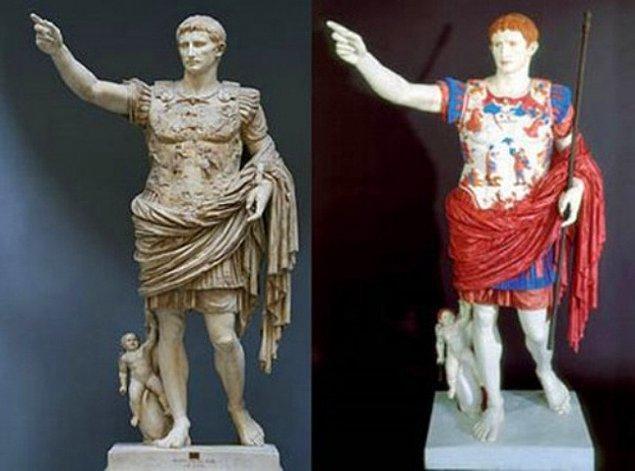 """3. Yoksa antik dönemdeki heykeller renkli miydi? """"Augustus of Prima Porta"""""""