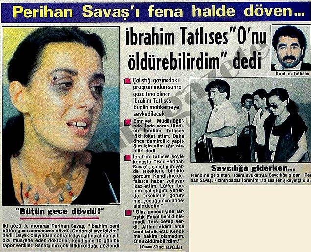 1984 (Tan): İbrahim Tatlıses'in, Perihan Savaş'ı korkunç bir şekilde darp etmesi