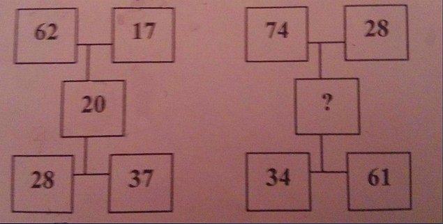 6. Bir matematik sorusu ile devam edelim! Sence '?' olan yere hangi sayı gelmeli?