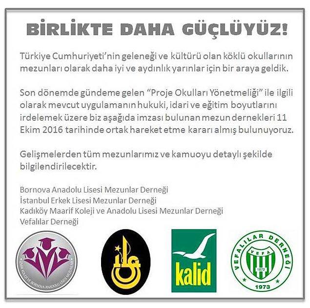 Kadıköy Anadolu Lisesi, İstanbul Erkek Lisesi, Vefa Lisesi ve Bornova Anadolu Lisesi'nin mezun dernekleri ortak hareket etme kararı aldı