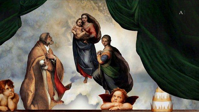 Meryem Ana'nın (Madonna) arkasındaki bulutlara daha yakından baktığınızda...