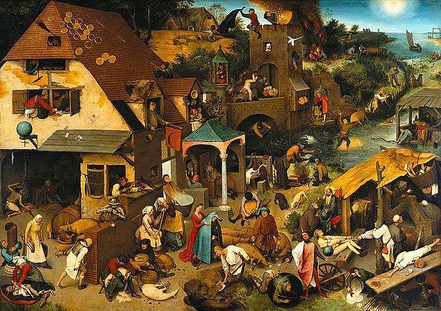 """4. """"Netherlandish Proverbs"""", (Felemenk Atasözleri), Pieter Bruegel"""