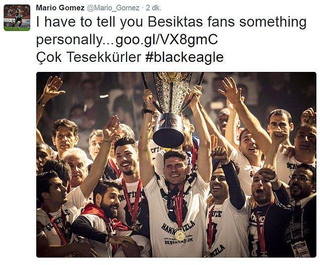 Ülkede yaşanan siyasi kriz ve toplumsal olaylar nedeniyle gelecek sezon Beşiktaş'ta olmayacağını açıklayarak