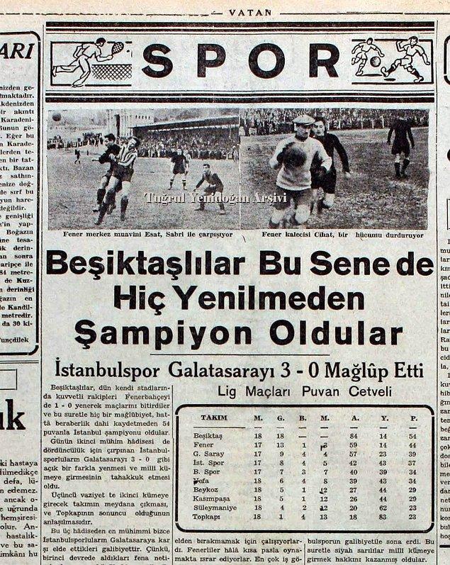 1940-41 sezonunda gençleştirilmiş ve yenilenmiş bir kadroyla birlikte puan farkını açarak liderliğini sürdüren bir Beşiktaş vardır.