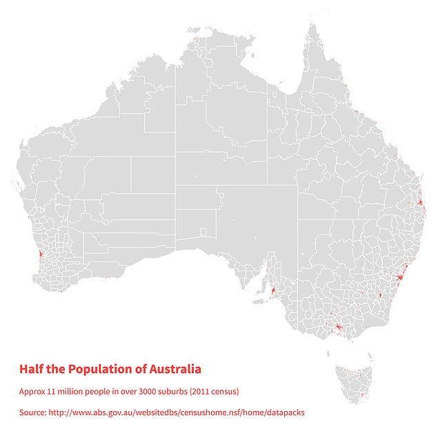 3. Avustralya kıtasının yarısı da şu minicik kırmızı noktalarda yaşıyor, geri kalan gri kısım nüfusun diğer yarısı.