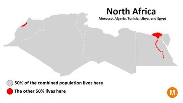 10. Fas, Cezayir, Tunus, Libya ve Mısır'ı kapsayan Kuzey Afrika'da insanların yarısı Nil Nehri'nin dibine üşüşmüş.
