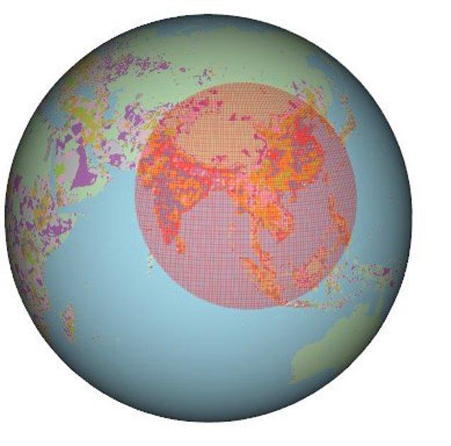 15. Ve dünyanın yarısından fazlası şu seçili alanın içinde yaşıyor.