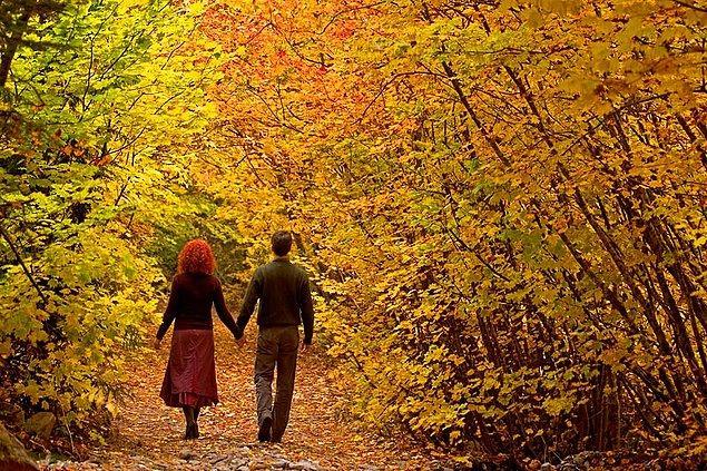 4. Kuru yaprakların içinden geçip fotoğraf çektirmek, mümkünse yerlere yatmak