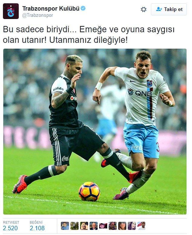 1. Trabzonspor'un resmi hesabından yapılan paylaşım;