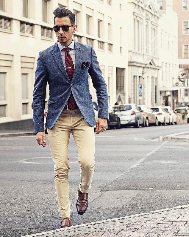 7. Mesela camel rengi bir chino pantolon kurtarıcıdır. Her şeyle olur namussuz.
