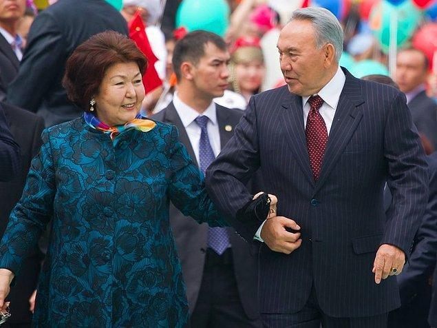 7. 2015 yılında %97 oy alarak bir kez daha başa gelmiş eski Kazakistan Cumhurbaşkanı Nursultan ve eşi Sara Nazarbayev
