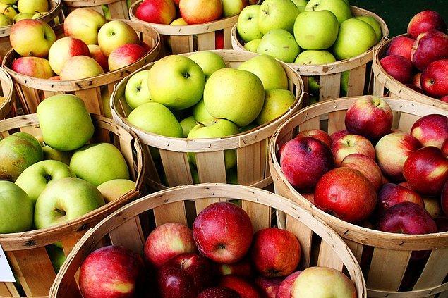 12. Marketlerde satılan bazı ithal elmalar 5 ila 12 aylık olabiliyor. Özel haznelerde düşük sıcaklık ve oksijen seviyesinde saklanan bu elmalar besin değerini kaybetmeden ve bozulmadan uzun süre dayanabiliyor.