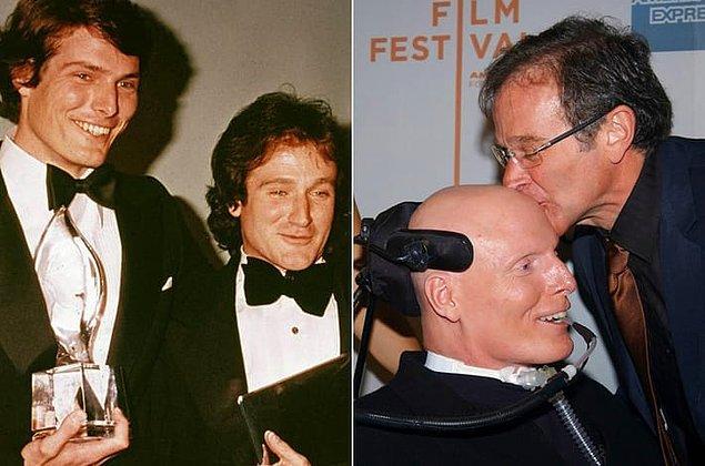 """20. Robin Williams ve Christopher Reeve 1973 yılında drama çalışmaları yaptıkları """"Julliard""""da oda arkadaşıydılar. Ve ömür boyu sürecek dostluklarının temellerini burada attılar."""