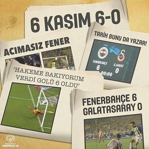 3. '6 Kasım 2002'de Fenerbahçe'nin Galatasaray karşısında Süper Lig tarihinin en farklı galibiyetini elde etmesi'