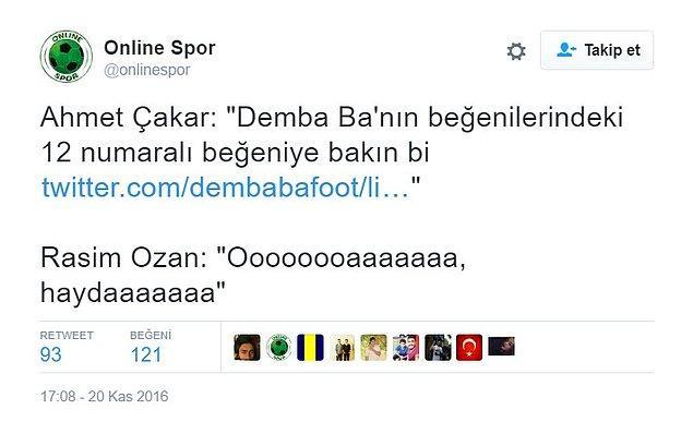 Beyaz Futbol programında Ahmet Çakar, canlı yayında Demba Ba'nın Twitter'dan pornografik bir içeriği beğendiğini söyledi.