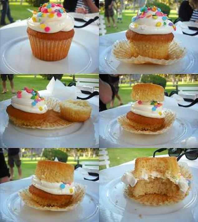 3. Aslında cupcake nasıl yeniyor, gösterelim.